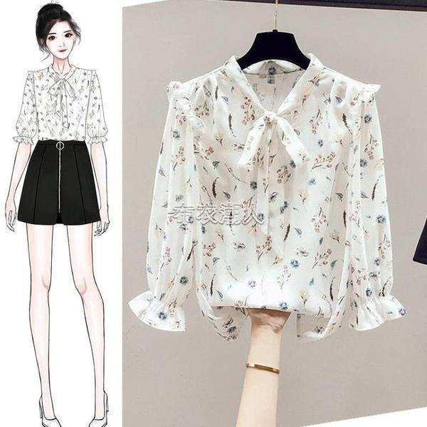 碎花雪紡上衣女2021新款小眾設計感襯衫女五分袖薄款時尚洋氣小衫 快速出貨