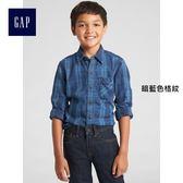 Gap男童 純棉格子長袖襯衫 兒童百搭襯衣大童上衣 370550-暗藍色格紋