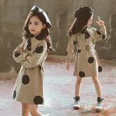 女童洋裝 女童洋裝2019秋季新款韓版中大童時髦洋氣波點長袖翻領襯衣裙子