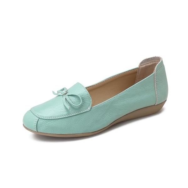 媽媽鞋女單鞋真皮舒適平底軟底皮鞋中老年防滑豆豆鞋女鞋老人奶奶 快意購物網