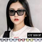 OT SHOP太陽眼鏡‧方框黑框梯形造型裝飾墨鏡‧韓系復古時尚粗框太陽眼鏡‧現貨‧五色T09