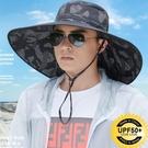 漁夫帽夏天男士迷彩大檐釣魚透氣太陽帽戶外登山防曬可折疊遮陽帽 3C優購