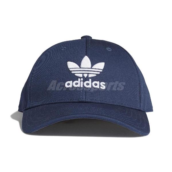 adidas 帽子 Trefoil Baseball Cap 藍 白 男女款 老帽 棒球帽 運動休閒 【ACS】 GN4888