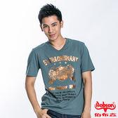 BOBSON 男款燙金印圖短袖上衣(灰綠22039-49)