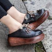 真皮鞋 花朵 繫帶 民族風 涼拖鞋 高跟鞋-標準碼-夢想家-0114