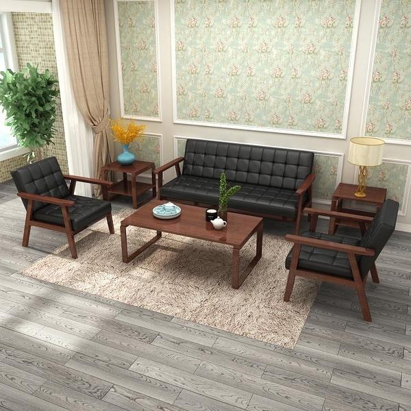 會客沙發茶幾組合套裝辦公室接待小型皮沙發簡約休閒出租房實木椅LX7月熱賣