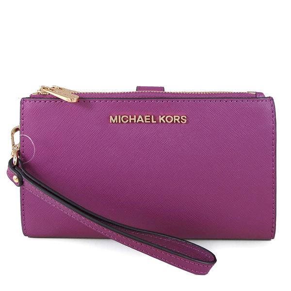 MICHAEL KORS Jet Set Travel 金字防刮皮革雙層手提長夾(紫色)-35F8GTVW0L