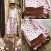 蕾絲裙(長裙)-高腰包臀刺繡花朵女裙子73x13【巴黎精品】