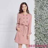 Red House 蕾赫斯-花瓣造型風衣外套洋裝(粉色)