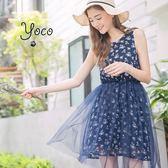 東京著衣【YOCO】古典花園拼接紗裙印花洋裝-S.M.L(170977)