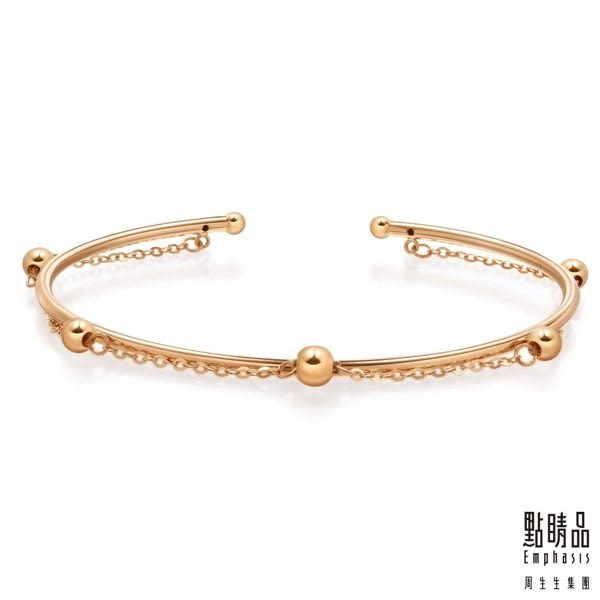 點睛品 Wrist Play 18K玫瑰金珠鍊手環/手鐲