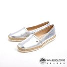 WALKING ZONE 高質感皮革懶人鞋 女鞋-銀(另有黑)