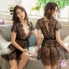 性感睡衣 迷人黑蕾絲透視深V二件式丁字褲性感睡裙 貨號:NA20020001