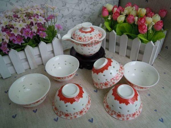 玉瓷富貴紅蓮花玲瓏瓷茶具