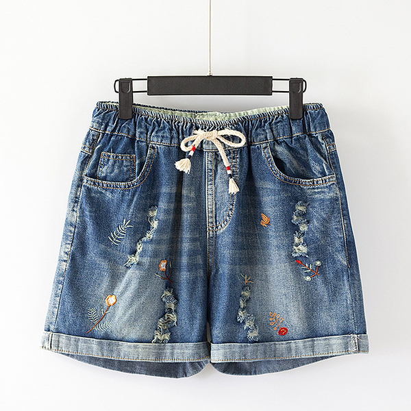 *ORead*文藝刺繡做舊破洞鬆鬆緊腰抽繩牛仔短褲(牛仔藍M~3XL)