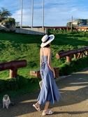 吊帶裙 2019新款女夏度假吊帶裙長裙沙灘裙海邊修身顯瘦格子連身裙魚尾裙 雙11狂歡