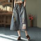 貼布刺繡破洞后開叉牛仔裙長裙中大尺碼【75-18-85291-21】ibella 艾貝拉