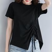 不規則上衣 短袖上衣女夏季純棉寬鬆正韓黑色抽繩不規則t桖上衣-Ballet朵朵