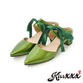 小尖頭綁帶芭蕾舞鞋造型粗跟拖鞋 綠 *KissXXX*