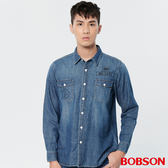 BOBSON 男款水洗牛仔印圖襯衫 (37003-53)