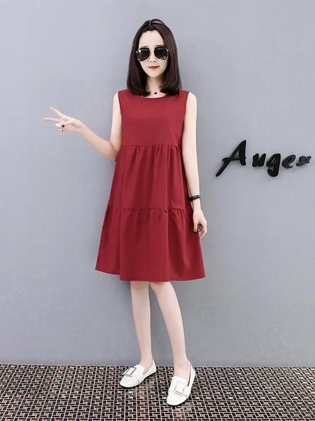 棉麻連身裙洋裝女中長款夏裝新款韓版純色無袖寬鬆顯瘦純棉打底衫