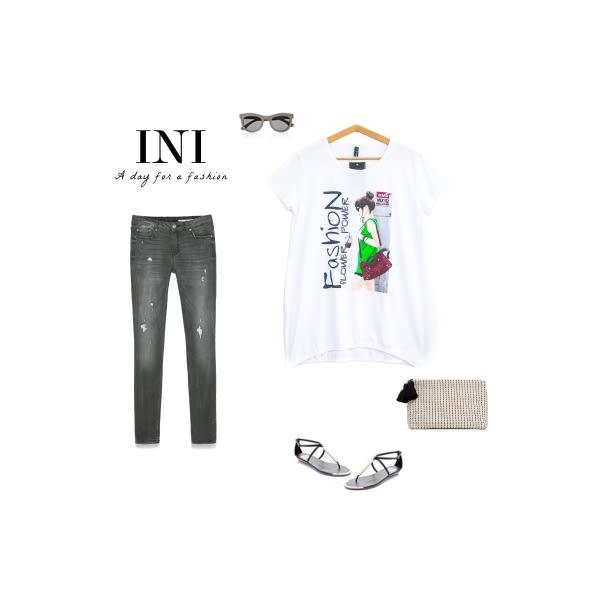【INI】休閒色彩、韓版舒適印花長版上衣.白色