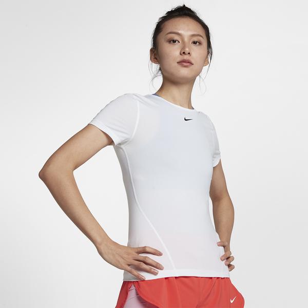 【現貨】NIKE PRO 女裝 短袖 慢跑 訓練 修身 透氣 白【運動世界】AO9952-100