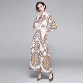 實拍澳洲貴婦2020秋新款燈籠袖印花歐美走秀收腰顯瘦氣質連衣裙