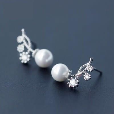 925純銀耳環(耳針式)-時尚優雅珍珠生日聖誕節禮物女飾品73dr161[時尚巴黎]