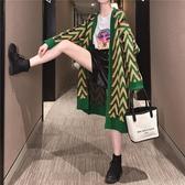 慵懶風中長款毛衣外套女韓版寬鬆慵懶風新款秋裝針織上衣開衫 晴天時尚
