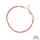 點睛品 Wrist Play 浪漫愛心 18K玫瑰金鑽石紅繩手鍊