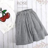 時尚小女孩-黑白細格薄平織寬褲(270065)★水娃娃時尚童裝★