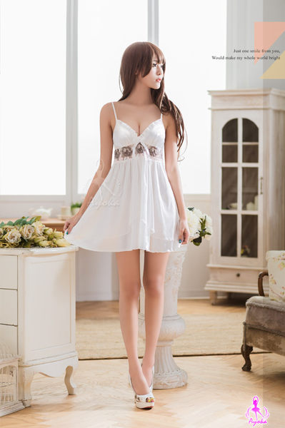 睡衣 性感睡衣  白色深V雙層刺繡甜美性感睡衣 星光密碼 i081