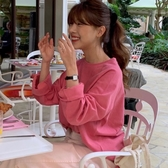 韓國IG熱門款元氣少女甜美減齡濃濃蜜粉色炒雞百搭寬松休閑簡約長袖t恤『居享優品』