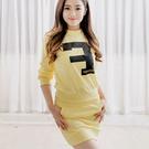 休閒字母套裝 黃色長袖上衣+黃色包臀短裙+黑色鬆緊腰短褲 11662001