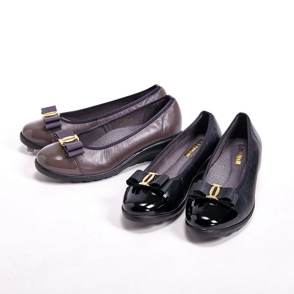【W&M】亮皮高雅蝴蝶結女鞋-黑(另有灰)