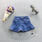 女童牛仔裙2018正韓風格女童裝1-2-3歲嬰幼兒女寶寶牛仔短裙荷葉邊半身裙子(男主爵)