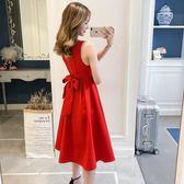 夏季紅色連身裙洋裝女春新品新娘敬酒禮服百褶顯瘦甜美氣質大擺裙 【萬聖節八五折鉅惠】