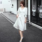 白色小晚禮服裙女2019新款氣場女王氣質平時可穿高貴洋裝宴會法式 全館免運快速出貨