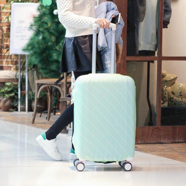 《簡單購》斜紋馬卡龍色彈力貼身行李箱保護套/防塵套(S號)