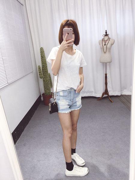 韓版實拍個性破壞高腰牛仔短褲流蘇破洞刷破率性好搭配短T襯衫#FU2043
