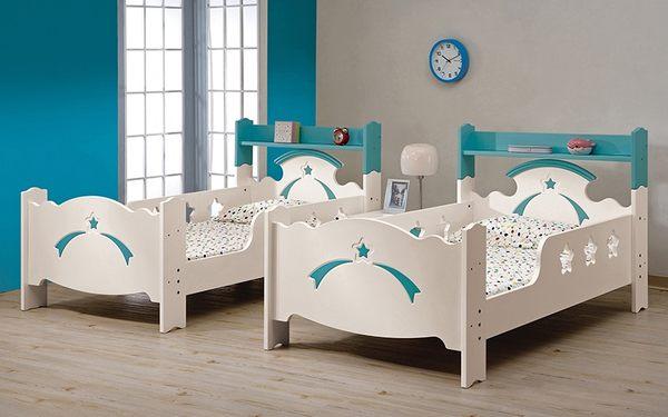 【森可家居】貝妮斯3.5尺雙層床 8CM688-1 不含床墊 兒童床 上下舖 城堡 童話故事風 粉藍色