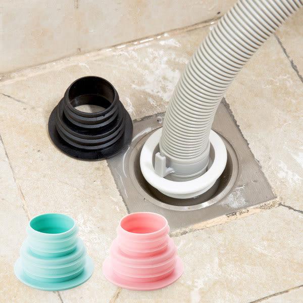 Qmishop 伸縮排水口密封圈 硅膠 洗衣機 排水管 地漏 矽膠 螺紋 水槽 接縫 防臭【J315】