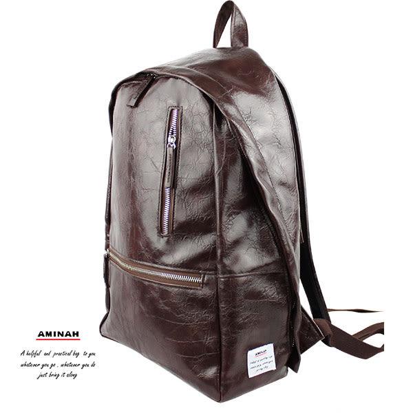 咖啡雙鍊皮革後背包  AMINAH~【am-0296】