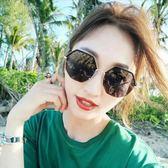 現貨-新款韓版ulzzang時尚百搭太陽眼鏡時尚網紅太陽鏡個性金屬半框墨鏡多邊形大框眼鏡269