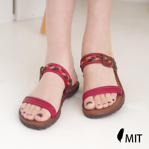 台灣製 真皮平底涼鞋 夏季 真皮涼鞋女 涼鞋 紅《SV8772》快樂生活網