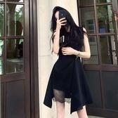 無袖洋裝夏季新款設計感蕾絲不規則洋裝子無袖收腰顯瘦氣質小黑裙女【快速出貨八折下殺】