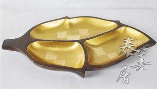 木雕 工藝品 擺件 家居裝飾品 金色果盤A款