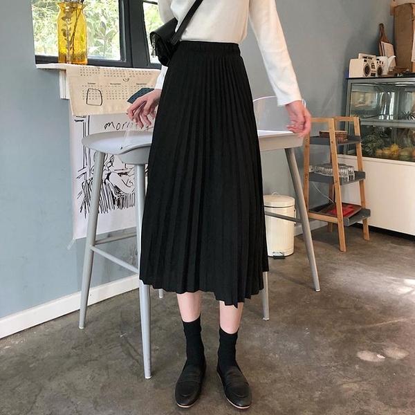 大碼女裝2020秋季新款遮跨百褶半身裙女胖mm顯瘦高腰百搭長裙 大尺碼女裝