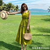 2020新款夏牛油果綠連身裙森系果綠色小清新超仙女甜美法國小眾裙
